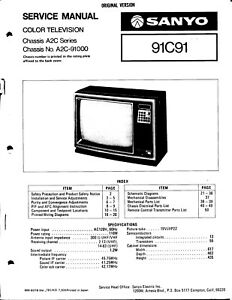 SANYO SERVICE MANUAL for a MODEL 91C91 COLOR TELEVISION