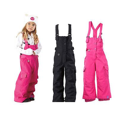 New Roxy Clover Toddler Snow Bib & Brace Pink Black Kids Boys Girls Ski Warm