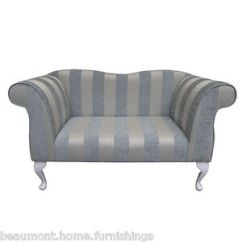 Blue Striped Sofa Uk Signature Design By Ashley Leighton Leather 49 Small Double Ended Chaise Longue Lounge Seat Stripe Details About Fabric
