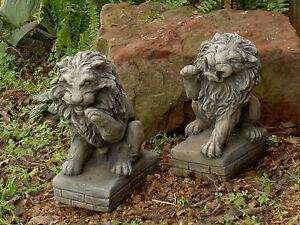 "lion pair pedestals 10"" cement"