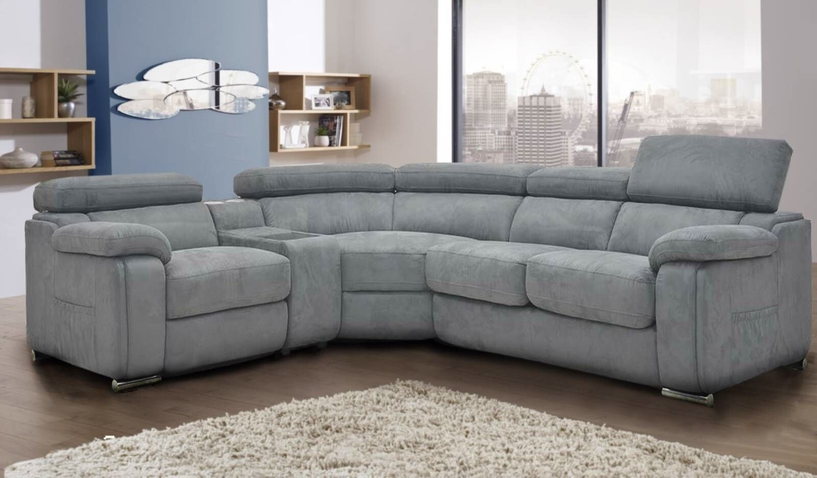 grey fabric corner sofa bed pallet diy plans dakota left hand ebay