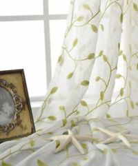 Country Green Leaf Floral Embroidered Off White Sheer ...
