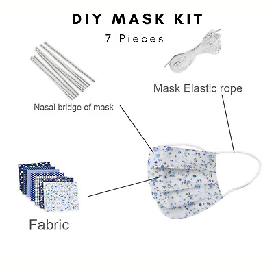 DIY Mask Kit for Face Cover 7 Piece Cotton Fabric for Mask