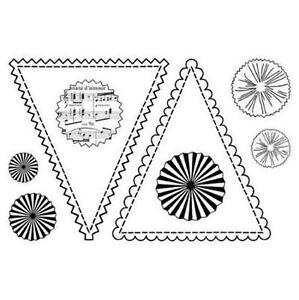 Pink Persimmon Clear Cling Stamps BANNER WITH ROSETTES