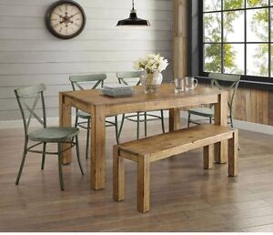 metal kitchen table sets rolling cabinet farmhouse dining set rustic wood country green image is loading