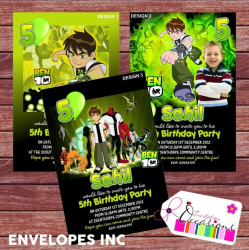 x 5 invites personalised birthday invitations ben10