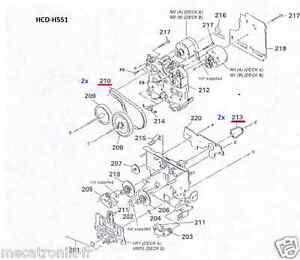 Kit 4 Courroies K7 pour chaine Sony HCD551 HCD-551 HCD541