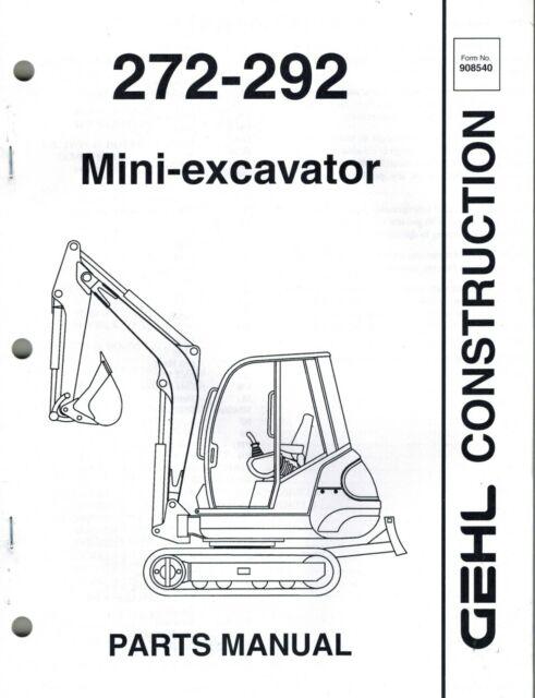 GEHL 272 292 MINI-EXCAVATOR PARTS MANUAL