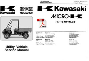 KAWASAKI MULE 3010 3020 3000 SERVICE MANUAL & RARE PARTS