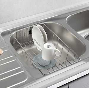 kitchen drainer basket mosaic tiles stainless steel sink tray rack dish drying half image is loading