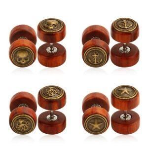 10MM FAKE OHR PLUG TUNNEL OHRRING PIERCING PLUGS HOLZ OCTOPUS ANKER SKULL STERN