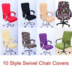 swivel chair covers white wooden legs stretch elastic office computer slip image is loading