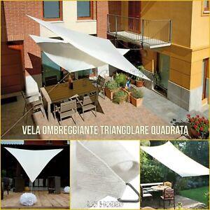 Vela ombreggiante hegoa triangolare bianco 360 x 360 cm. Vela Ombreggiante Bianca Da Giardino Vele Tenda Da Sole Telo Parasole Ombra Teli Ebay