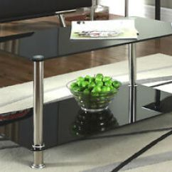 Black Glass Living Room Furniture What Size Rug Under Chrome 2 Tier Coffee Table Modern Image Is Loading