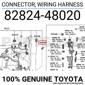 8282448020 Genuine Toyota CONNECTOR, WIRING HARNESS 82824