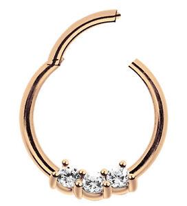 Piercing Schmuck Smooth Segment Clicker, Ring Rose Gold Stahl 1,2mm und 3 Steine