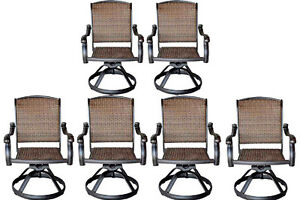 wicker swivel patio chair folding leg caps rocker chairs set of 6 outdoor cast aluminum image is loading