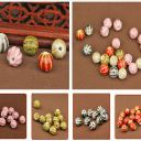 10pcs 10mm  Rondelle Charms Stripe Ceramic Loose Beads Jewelry Findings Making