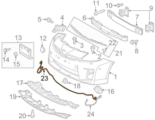 2010 Fog Toyota Prius OEM Front Driver Bumper Wiring