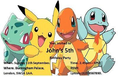 20 pokemon birthday party invitations