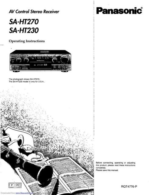 Panasonic SA-HT230 SA-HT270 Home Theater System Owners