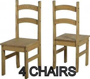 kitchen chairs cart amazon 4 corona mexican dining pine budget solid wood image is loading
