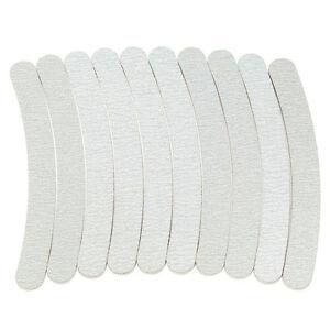 10 x Grey Nail Files Sanding 100/180 Curve Banana for Nail Art Tips Manicure N3