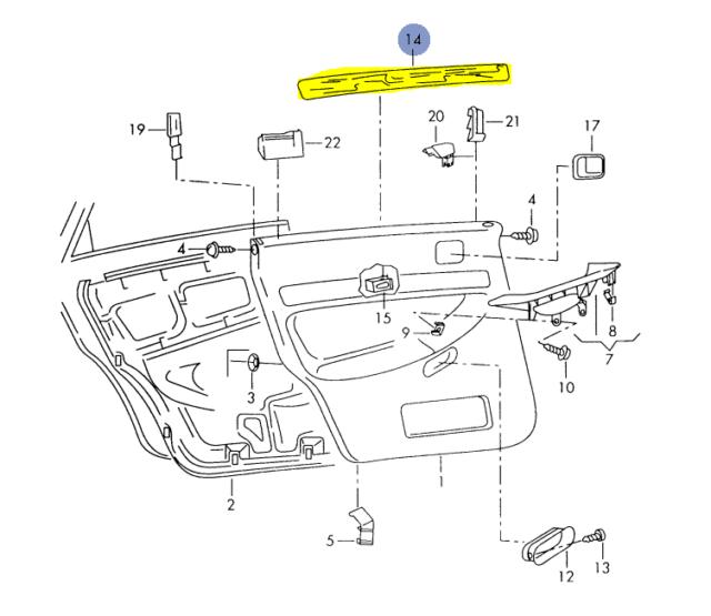 AUDI A4 A4Q B5 1999-02 PASSENGER REAR DOOR PANEL TRIM