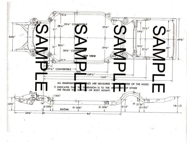 1971 DODGE CHALLENGER R/T 71 FRAME GUIDE DIAGRAM CHART