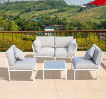 outsunny patio 5 piece corner sofa
