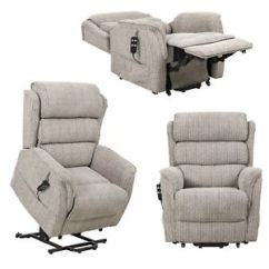 Recliner Chair Height Risers Upholstered Arm Dining Sandringham Electric Riser In Fabric Rise And Recline Image Is Loading