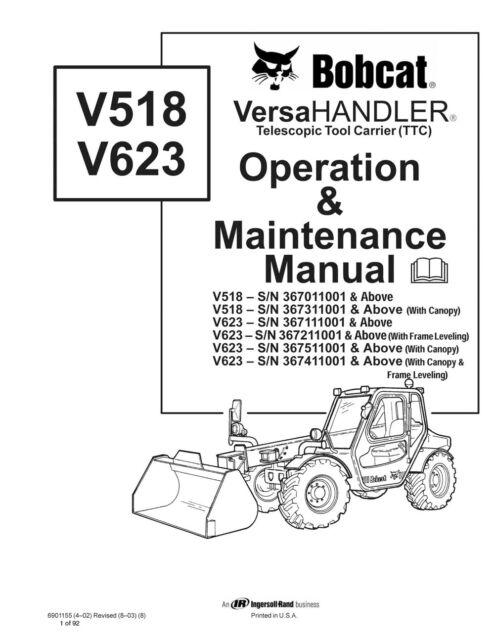 Bobcat V518 & V623 VERSAHANDLER Operation Maintenance
