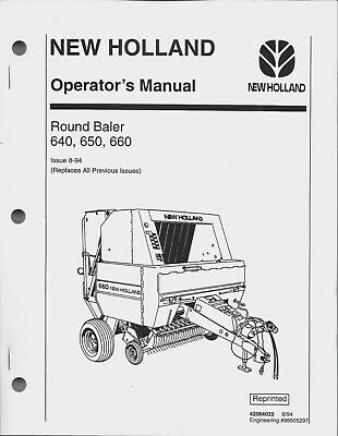 New Holland 640, 650, 660 Round Baler Operator Manual