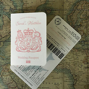 Details About Passport And Airline Ticket Boarding Pass Travel Wedding Invitation Sample