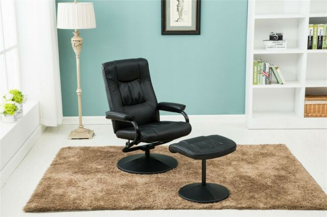 swivel reclining chairs for living room ikea rugs birlea memphis black recliner chair faux leather footstool ebay