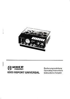 Bedienungsanleitung-Operating Instructions für Uher 6000