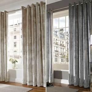 Velvet Designer Ready Made Lined Eyelet Ring Top Curtains