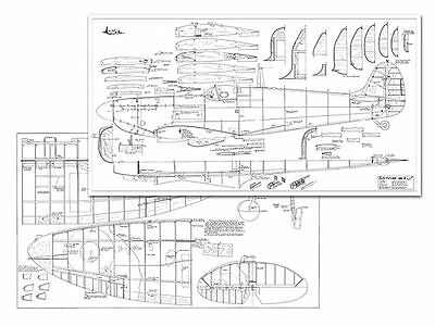 Spitfire Mk I full Size Balsa Model Airplane Printed Plans