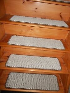13 Step 9 X 30 Landing 27 X 30 Stair Treads Staircase | Textured Carpet On Stairs | Floral | Wide Stripe | Short Cut Pile | Stylish | Brown