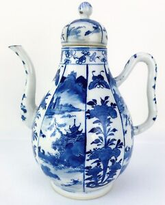 Kangxi Style Chinese Antique Porcelain Blue And White Landscape Teapot 19th.C