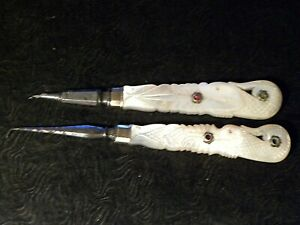 73138. Vintage Chinese Dental Tools (?) Mother of Pearl carved handles jeweled