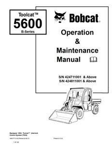 New Bobcat Toolcat 5600 B-Series Operation Maintenance