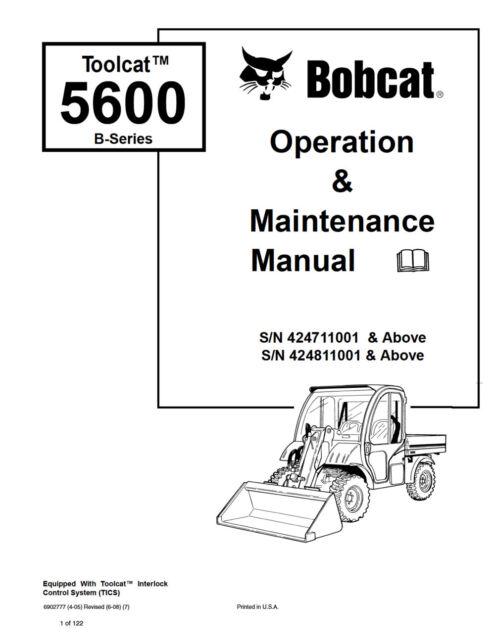 Bobcat Toolcat 5600 B-series Operation Maintenance Manual