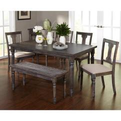 Dining Table Set 6 Chairs Rattan Wingback For With Bench 4 Farmhouse Formal Upholstered Padded Ebay