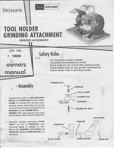 1980's Craftsman 09-19596 Tool Holder Grinding Attachment