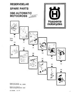 Husqvarna Parts Manual Book 1978 390 Automatic Motocross