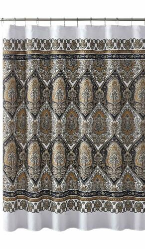 home garden vcny fabric shower curtain floral damask with geometric border design black gold bath