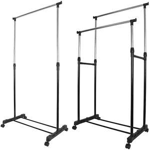 details about garment rack single double silver black adjustable portable clothes rail stand