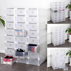 details sur 24 boite a chaussures plastique housse tiroir stockage empilable rangement