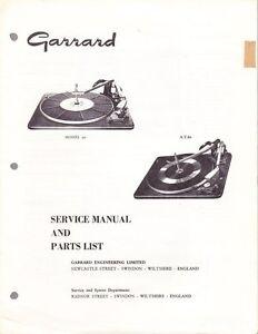 GARRARD SERVICE MANUAL FOR MODELS 50 & 60 AUTO RECORD